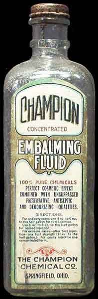 An elderly neighborlady of mine was married to an undertaker. I inherited a wooden crate for this embalming fluid. It's now in service as a defacto liquor cabinet.