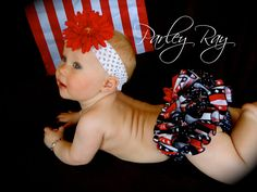 Parley Ray Stars and Stripes Patriotic Independence Day 4th of July Flag Ruffled Diaper Cover/ Baby Bloomers/ Photo Prop. $26.00, via Etsy.