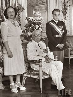 Princess Ghislaine, Louis II and Prince Rainier of Monaco Standing at the Jubilee Celebration.