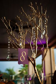 wedding branch centerpiece | Our centerpieces : wedding centerpieces manzanita branches 1 purple ...