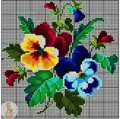 "RIOLIS cross stitch Embroidery Kit ""The Petunias and Primroses"" Russia (Petunia and Primrose) embroidery maker ""Loris"" 製shi Embroidery Kit Cross Stitch Bird, Beaded Cross Stitch, Cross Stitch Flowers, Counted Cross Stitch Patterns, Cross Stitch Charts, Cross Stitch Designs, Cross Stitching, Cross Stitch Embroidery, Hand Embroidery"