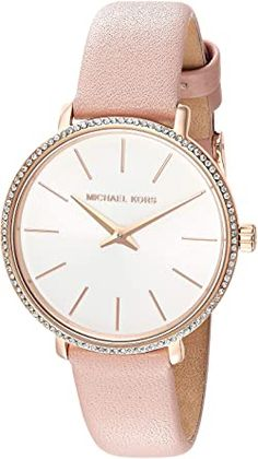 Michael Kors Women's Stainless Steel Quartz Watch with Leather Calfskin Strap Breitling Watches Women, Big Face Watches, Burberry Watch, Authentic Watches, Casual Watches, Beautiful Watches, Quartz Watch, Michael Kors, Leather