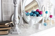 Pretty mantel with pops of color