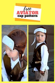 FREE Sewing pattern for the Toddler Aviator Hat. Ideal for those cold winter days or even those chilly Autumn and Spring days, this form-fitting and snug hat really does look like a winner to us! The Aviator hat works great for dress-up or costumes but also makes a really adorable hat for everyday wearing. It looks super comfortable and of course, it's fluffy on the inside. This cap should fit children with heads measuring 20 to 21 inches, which means it should fit most toddlers and small school Boys Sewing Patterns, Sewing For Kids, Free Sewing, Free Pattern Download, Aviator Hat, Modern Kids, Toddler Outfits, Snug, Toddlers