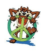 Taz Looney Tunes Characters, Looney Tunes Cartoons, Old Cartoons, Peace Sign Art, Peace Signs, Taz Tattoo, Angle And Demon, Tasmanian Devil Cartoon, Yosemite Sam