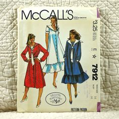 Dress, McCalls 7912 Pattern for Women, FREE SHIP, Laura Ashley, Front Buttons, Sailor Collar, Ruffles, Dickey, Tie, 1982 Uncut, Size 16 by DartingDogPatterns on Etsy