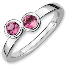 Stackable Expressions Sterling Silver Double Round Pink Tourmaline Ring