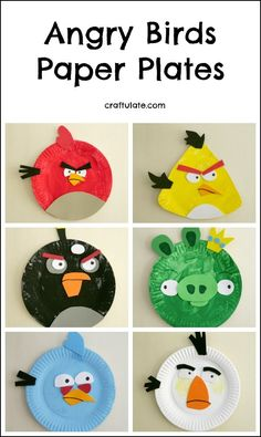 Angry Birds Paper Plates - a fun craft for kids to make! Angry Birds Paper Plates - a fun craft for Bird Paper Craft, Paper Plate Crafts For Kids, Fun Arts And Crafts, Winter Crafts For Kids, Halloween Crafts For Kids, Crafts For Kids To Make, Easy Crafts, Art For Kids, 3d Paper