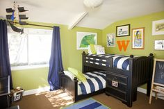 Beachy and whimsical surfer-boy bedroom. #bigboyroom #surfer