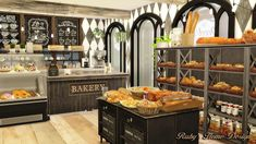 Sims 4 Jacob's Bakery & Pizzeria 麵包店與比薩屋 - Ruby's Home Design The Sims 4 Lots, Sims 4 Update, Bakery Design, Floor Plans, House Design, Cartoon Characters, Shops, Food, Acre
