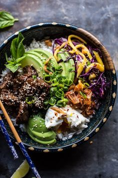 Korean Bulgogi BBQ Steak Bowls - so many awesome flavors, add or subtract what you like (or have on hand), AND no heating up the oven! @halfbakedharvest.com