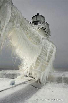 Frozen ice on lighthouse