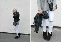 Cecilie Krog - H&M Ripped Jeans, Chiquelle Biker Jacket, Asos Cross Body Bag, Graceland Boots, Vsr Grey Knit - Grey Knit