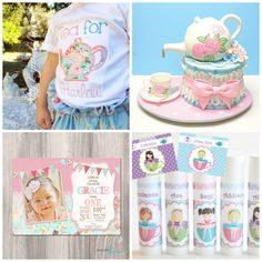 Vintage Inspired Tea Party. Tea for Two Birthday Party Ideas. Pink & Blue Floral. Shirt is from: www.etsy.com/shop/skylynnclips Invitation from: https://www.etsy.com/shop/StyleswithCharm Party Favors from: https://www.etsy.com/shop/NanasPartyPalace Cake Made By: https://www.facebook.com/LovelyCakes.CT
