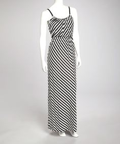 Take a look at this Black & White Diagonal Stripe Maxi Dress by Bailey Blue on #zulily today!
