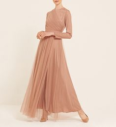 Dusty Peach Draped Tulle Gown - $101.99 : Inayah, Islamic Clothing & Fashion, Abayas, Jilbabs, Hijabs, Jalabiyas & Hijab Pins