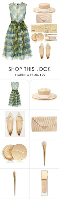 """Love Letters"" by juliehalloran ❤ liked on Polyvore featuring Dice Kayek, Awon Golding Millinery, Park Lane, JNB, Jane Iredale, Clarins and INC International Concepts"