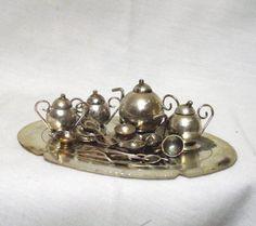 Vintage Doll House Silver Tea Set by RetroVintageBazaar on Etsy, $12.00