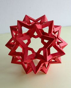 """I love red! """"Star Icosidodecahedron"""" created & folded by Francesco Mancini Origami Ball, Origami Paper, Paper Art, Paper Crafts, Diy Crafts, Origami Videos, Modular Origami, Snowflake Ornaments, Shape And Form"""