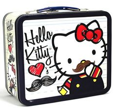 Mustache Hello Kitty Lunch Box.  How did I miss Mustache Hello Kitty?  For shame.