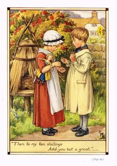 """Cicely Mary Barker Print - """"""""TO MY TEN SHILLINGS, ADD YOU BUT A GROAT"""""""" - Offset Lithograph - c1930"""