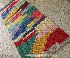 crochet strands at a time-carrying color not used, then picking it back up and carrying next color. Tunisian Crochet, Crochet Stitches, Crochet Patterns, Love Crochet, Knit Crochet, Crochet Carpet, Crochet Home Decor, Tapestry Crochet, Yarn Crafts