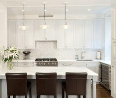 Contemporary U-shaped kitchen, grey cabinets, New York