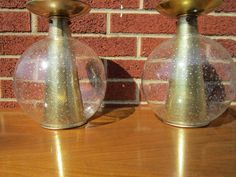Pair of Mid Century SPOT LAMPS Ceiling Mount GOLD Ball Pendent LIGHTS Lightcraft