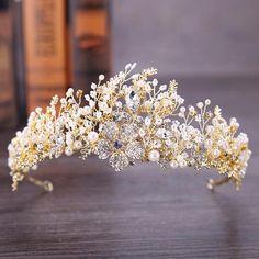 Baroque Vintage Gold Wedding Hair Accessories Rhinestone Crystal Tiara – TulleLux Bridal Crowns and Accessories