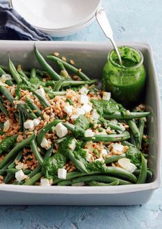 Green Bean Farro Salad with Basil Mint Vinaigrette from www.whatsgabycooking.com (@whatsgabycookin) It's the perfect meatless summer meal!