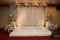 Wedding Ceremony Flowers Altar Simple 63 Ideas For 2019 Desi Wedding Decor, Wedding Reception Backdrop, Wedding Ceremony Flowers, Wedding Stage Decorations, Engagement Decorations, Wedding Mandap, Rustic Wedding Flowers, Backdrop Decorations, Arch Wedding