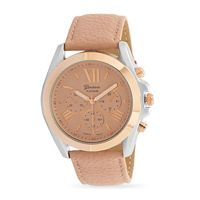 Pink Leather Rose Gold Tone Fashion Watch