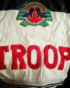 Vintage 90s World of Troop Leather Jacket  #forsale #vintage #80s #90s #troop #worldoftroop #stylebytroop #hiphop #rap #llcoolj #rundmc #leatherjacket #large