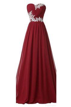 Burgundy Long Beaded Sweetheart Chiffon Lace Prom Dresses OK9