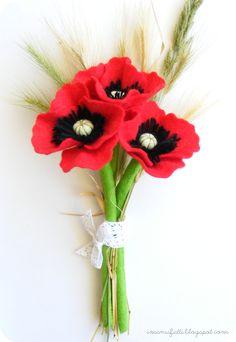 """DIY Beautiful Felt Poppy Flower DIY Beautiful Felt Poppy Flower """" Very nice felt poppy flowers. Zipper Flowers, Felt Flowers, Diy Flowers, Fabric Flowers, Poppy Flowers, Flower Diy, Red Poppies, Felt Diy, Felt Crafts"""