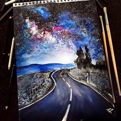 Watercolor Pencil Art Artist Jana Grote, cool sketch of winding road. Amazing Drawings, Beautiful Drawings, Cool Drawings, Amazing Art, Pencil Drawings, Awesome, Watercolor Pencil Art, Watercolor Paintings, Sketch Manga