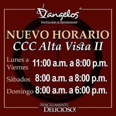 D'angelos de CCC Alta Vista II (Makro Centro) comenzará a trabajar en nuevo horario de lunes a viernes de 11am a 8pm sábados de 8am a 8pm y domingos de 8am a 6pm. Con la calidad y atención de siempre!  #Gastronomía #Gourmet #SencillamenteDelicioso #Guayana #Pzo #Delivery