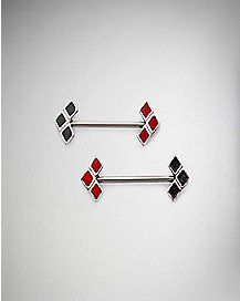 Red and Black Harley Quinn Barbell  - 14 Gauge