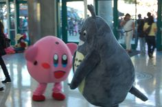What's important to know about this photo is that Kirby and Totoro were fighting, which we presume was viral marketing for the next Super Smash Bros. game.