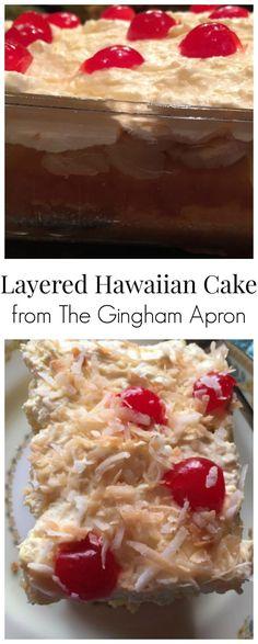 Layered Hawaiian Cake! Refreshingly delicious with coconut, bananas, maraschino cherries, and pineapple. #pineapple #bananas #cherries #cake