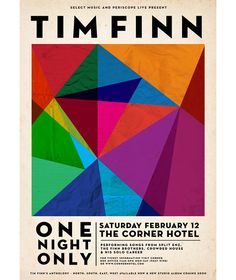 Tim Finn gig posterdesigned by Georgia Perry whilst working at Debaser