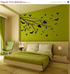 81 Feng Shui Living Room Rules, Colors and 12 Layout Diagrams – Furniture Bedroom Green, Green Rooms, Bedroom Wall, Green Walls, Bedroom Colors, Dream Bedroom, Living Room Vinyl, Vinyl Wall Art, Wall Decor