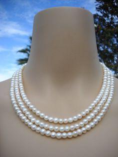 Jackie O Necklace  3 strand white pearl by BoldRocksJewelry, $48.00