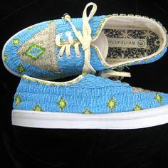 Connie Gravatt, native hand beaded shoes