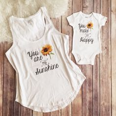 Mommy and me matching outfit, You are my sunshine Shirt, Mother and daughter shirt, mom shirt, Baby Shower Gift, New Mom Shirt by KyCaliDesign on Etsy https://www.etsy.com/listing/285833105/mommy-and-me-matching-outfit-you-are-my