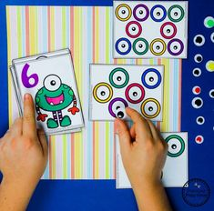 Monster theme Counting Memory Cards Preschool Learning Activities, Play Based Learning, Preschool Themes, Preschool Worksheets, Fun Math, Preschool Activities, Winter Activities, Monster Shapes, Monster Eyes