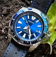 BandRBands blue stitch waterproof watch band strap on a Seiko Samurai Dive Watch