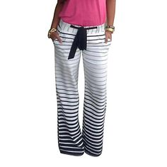 5e6dffd00f3 Pants- White Black Gradient Stripe Loose Wide Leg Long Pants Trousers Plus  Size