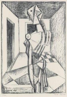 FUTURISMO carlo carra penelope - litografia 1917