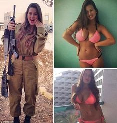 Although they have to deal with heavy weaponry and gruelling training, the girls are not afraid to show off their fun, playful side, by posting their sexy snaps in bikinis. Idf Women, Military Women, Israeli Female Soldiers, Hot Girls, Military Girl, Girls Uniforms, Badass Women, Professional Women, Eileen Fisher
